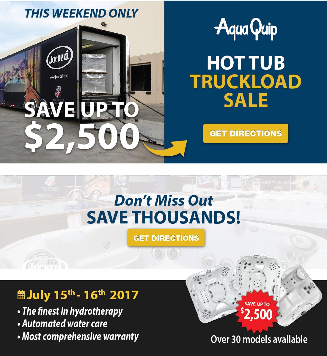 Aqua Quip | HOT TUB SALE, Bellevue Hot Tub truckload SALE ...